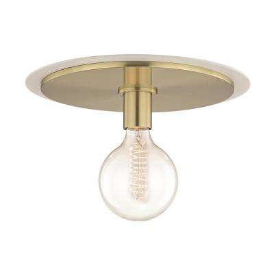 Milo 1-Light Aged Brass Large Flush Mount with White Accents