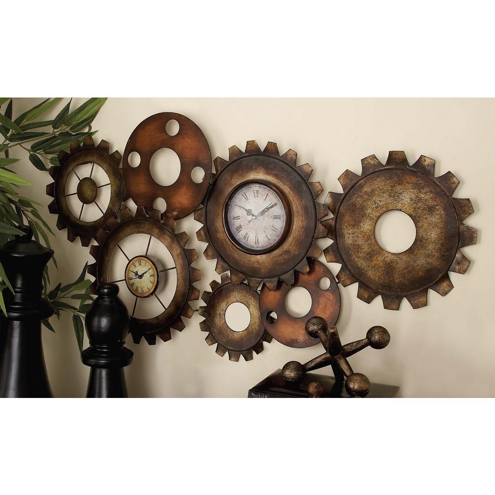 17 in. x 34 in. Rustic Industrial Gears Wall Clock in Distressed Iron