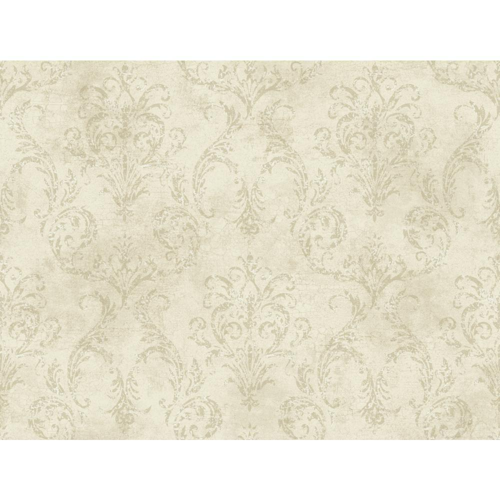 York Wallcoverings Delia Damask Raised Print Wallpaper