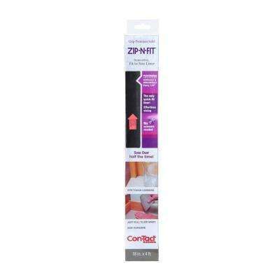 Zip-N-Fit 18 in. x 4 ft. Black Perforated Solid Grip Non-Adhesive Drawer and Shelf Liner (6 rolls)