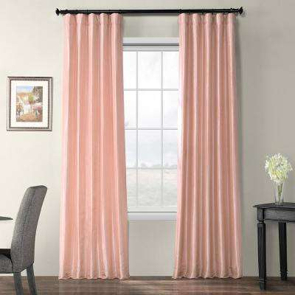 Salmon Rose Pink Blackout Faux Silk Taffeta Curtain - 50 in. W x 84 in. L