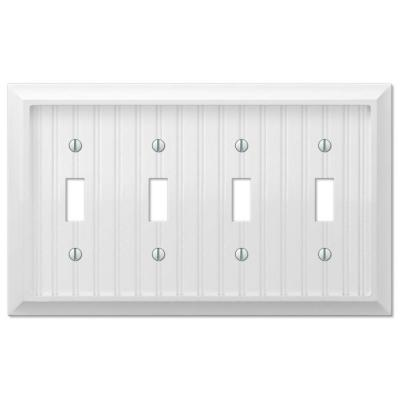 Cottage 4 Gang Toggle Composite Wall Plate - White