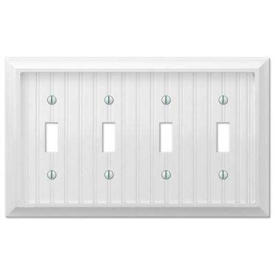 Cottage 4-Gang Toggle Wall Plate - White