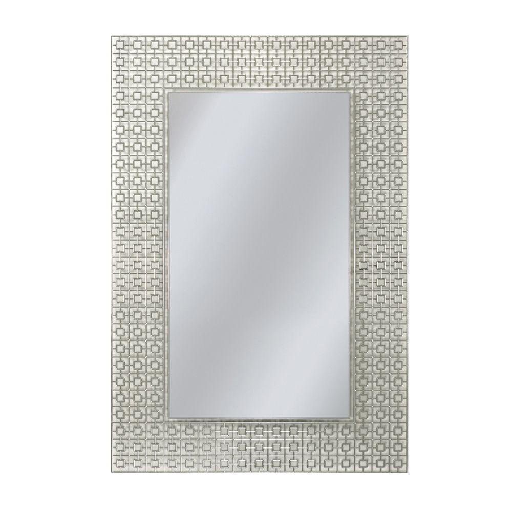 Deco mirror 24 in x 30 in etched geometric rectangle for Espejos de cuerpo completo vintage