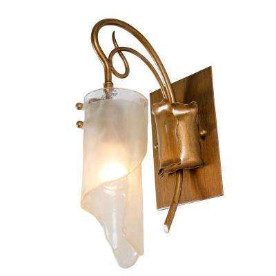 Soho 1-Light Hammered Ore Vanity Light with Brown Tint Ice Glass Shades
