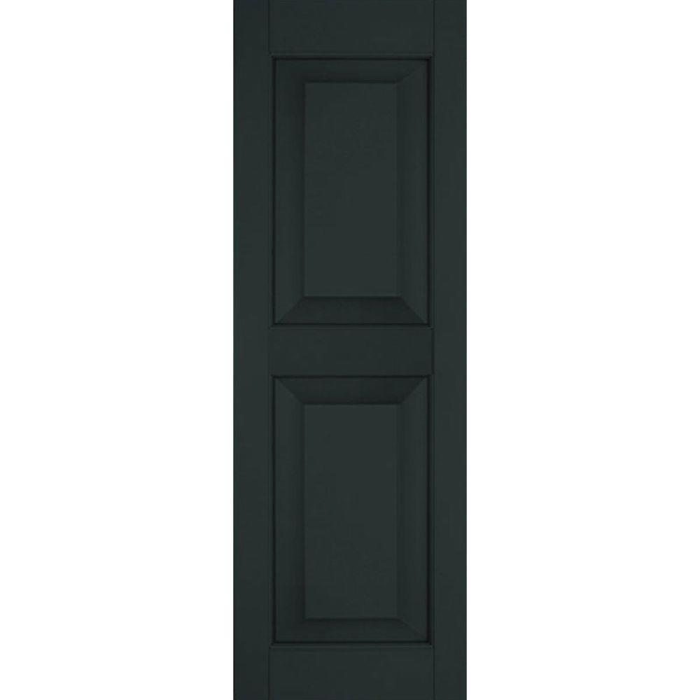 Ekena Millwork 12 in. x 58 in. Exterior Real Wood Pine Raised Panel Shutters Pair Dark Green