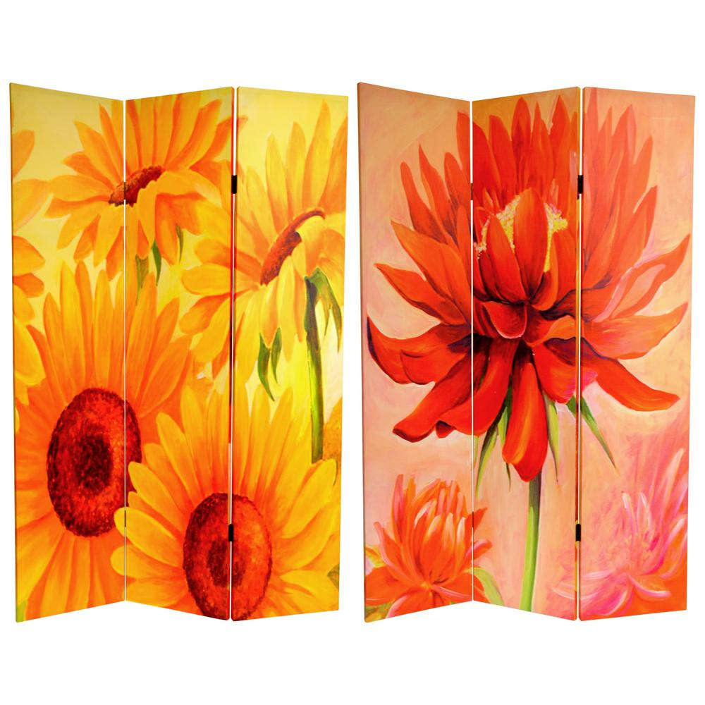 6 Ft Printed 3 Panel Room Divider Can Poppy The Home Depot