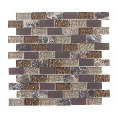 Emperador Brick 12 in. x 12 in. x 8 mm Glass Marble Mosaic Wall Tile