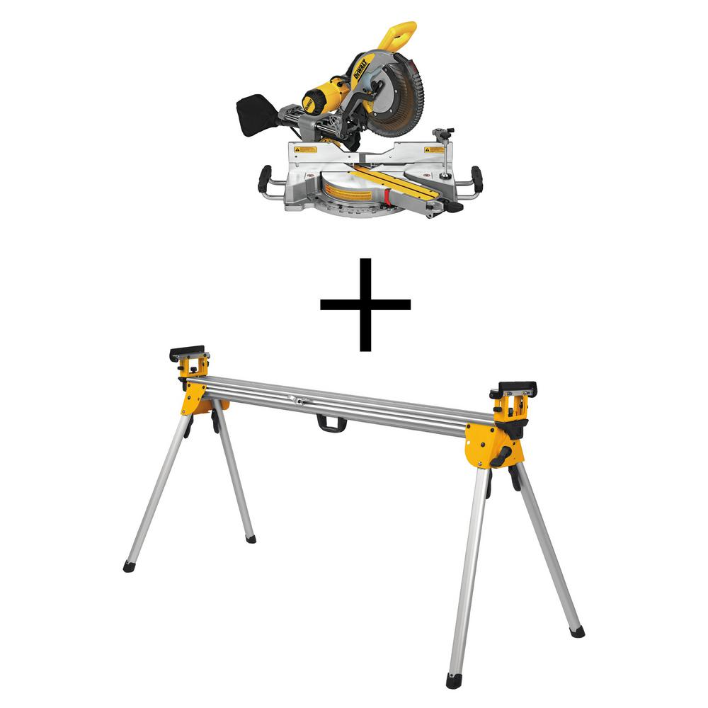 DEWALT 15 Amp Corded 12 inch Double-Bevel Sliding Compound Miter Saw w/ Heavy-Duty Miter Saw Stand
