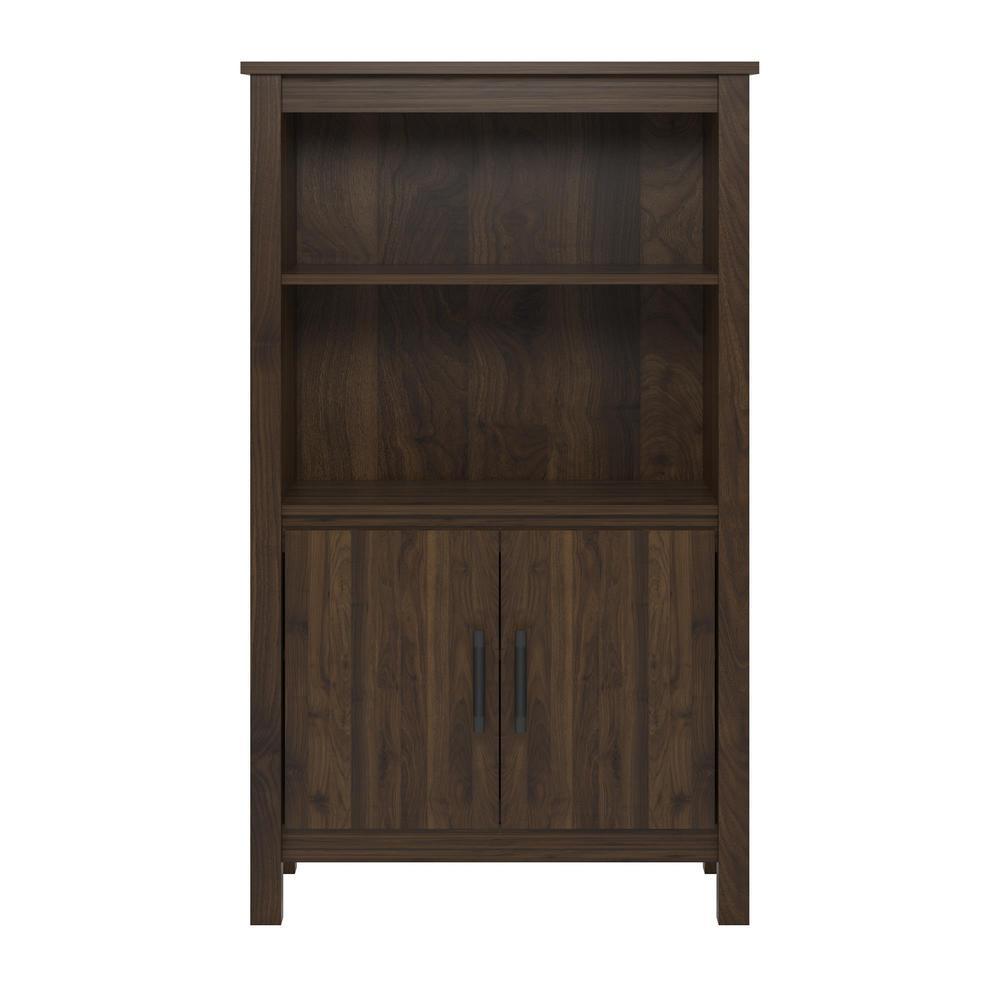 Meadow Ridge Walnut 3-Shelf Bookcase with Doors