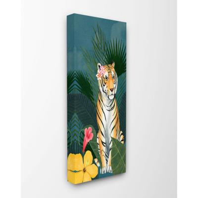 Stupell Industries Tiger Flowers Orange Pink Animal Painting by Grace Popp Canvas Wall Art 20 in. x 48 in., Multi-Colored