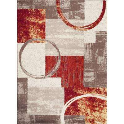 Contemporary Abstract Circle Design Multi 5 ft. 3 in. x 7 ft. 3 in. Indoor Area Rug