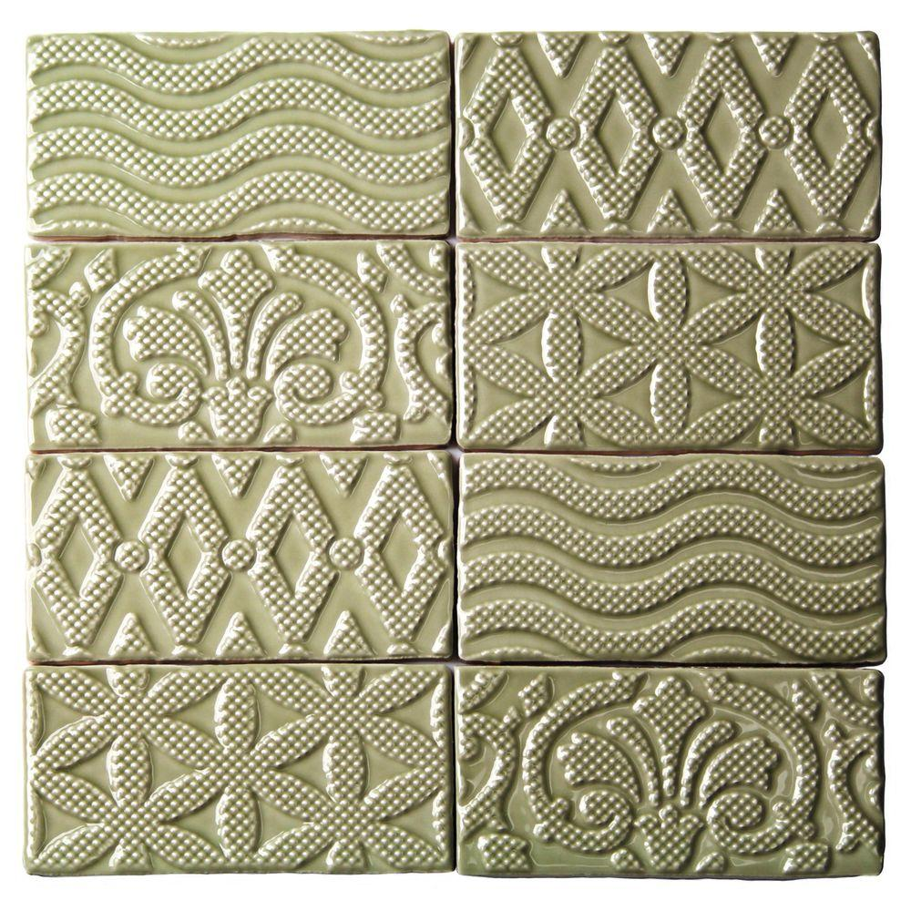 Ivy Hill Tile Catalina Deco Kale 3 in. x 6 in. x 8 mm Ceramic Wall Subway Tile