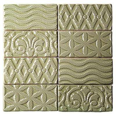 Catalina Deco Kale 3 in. x 6 in. x 8 mm Ceramic Wall Subway Tile