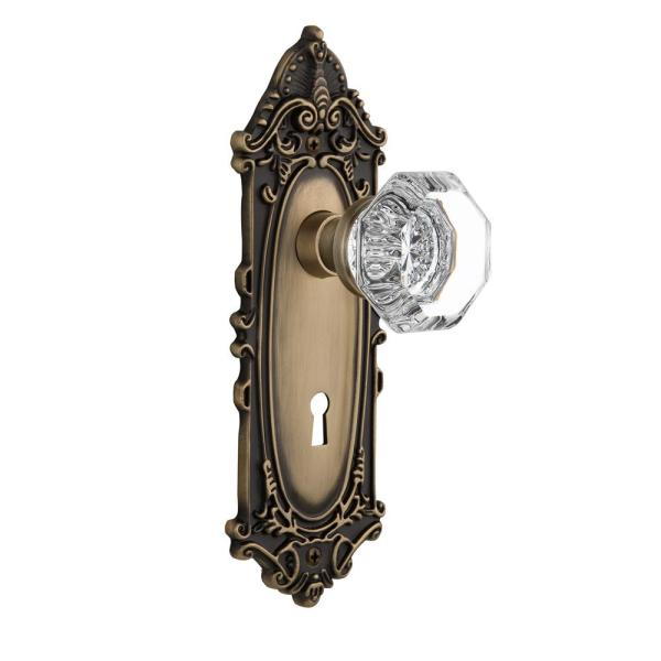 Nostalgic Warehouse Victorian Plate With Keyhole 2 3 8 In Backset Antique Brass Privacy Bed Bath Waldorf Door Knob 704076 The Home Depot