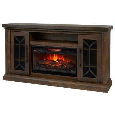 Madison 68 in. Media Console Infrared Electric Fireplace in Medium Brown Acacia with Dark Brown
