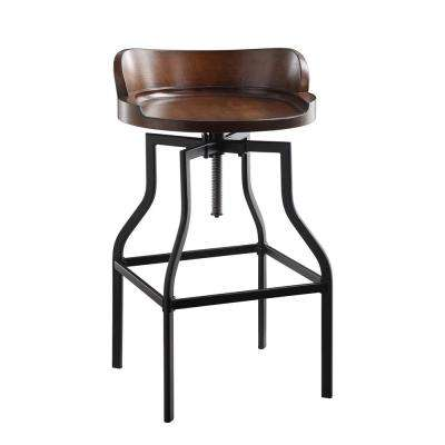 Maris 24 in. to 30.5 in. Chestnut and Black Adjustable Stool