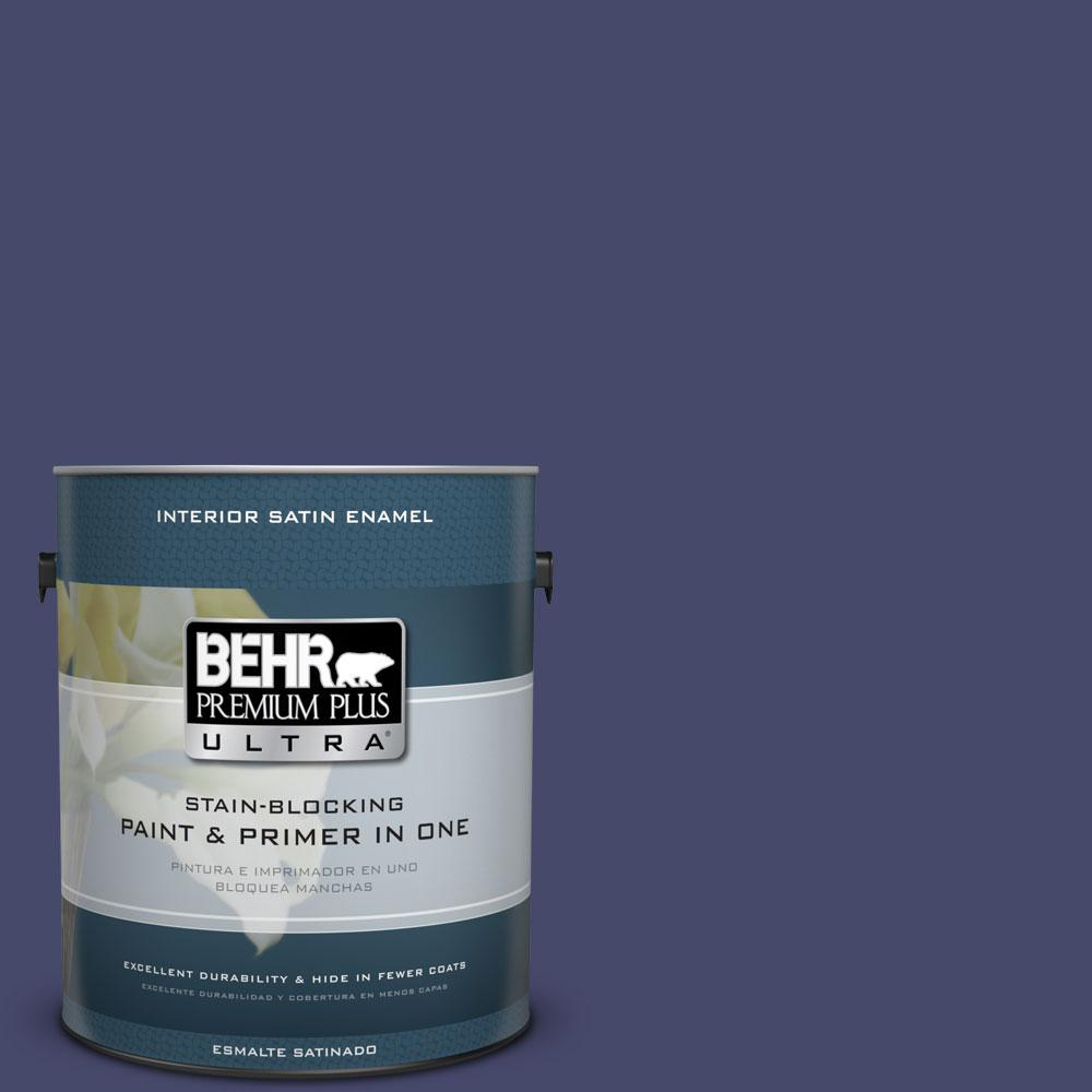 BEHR Premium Plus Ultra 1-Gal. #PPU15-1 Nobility Blue Satin Enamel Interior Paint