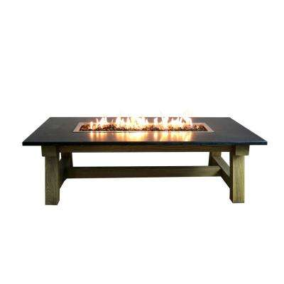 Workshop Coffee 36 in. x 17 in. Rectangular Concrete Propane Fire Pit Table with Burner and Lava Rock