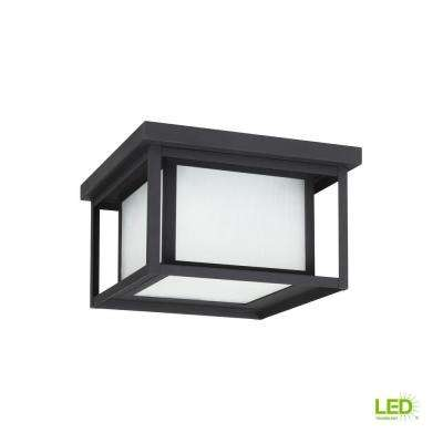 Hunnington 10 in. W. Black 2-Light Outdoor Flush Mount with LED Bulb