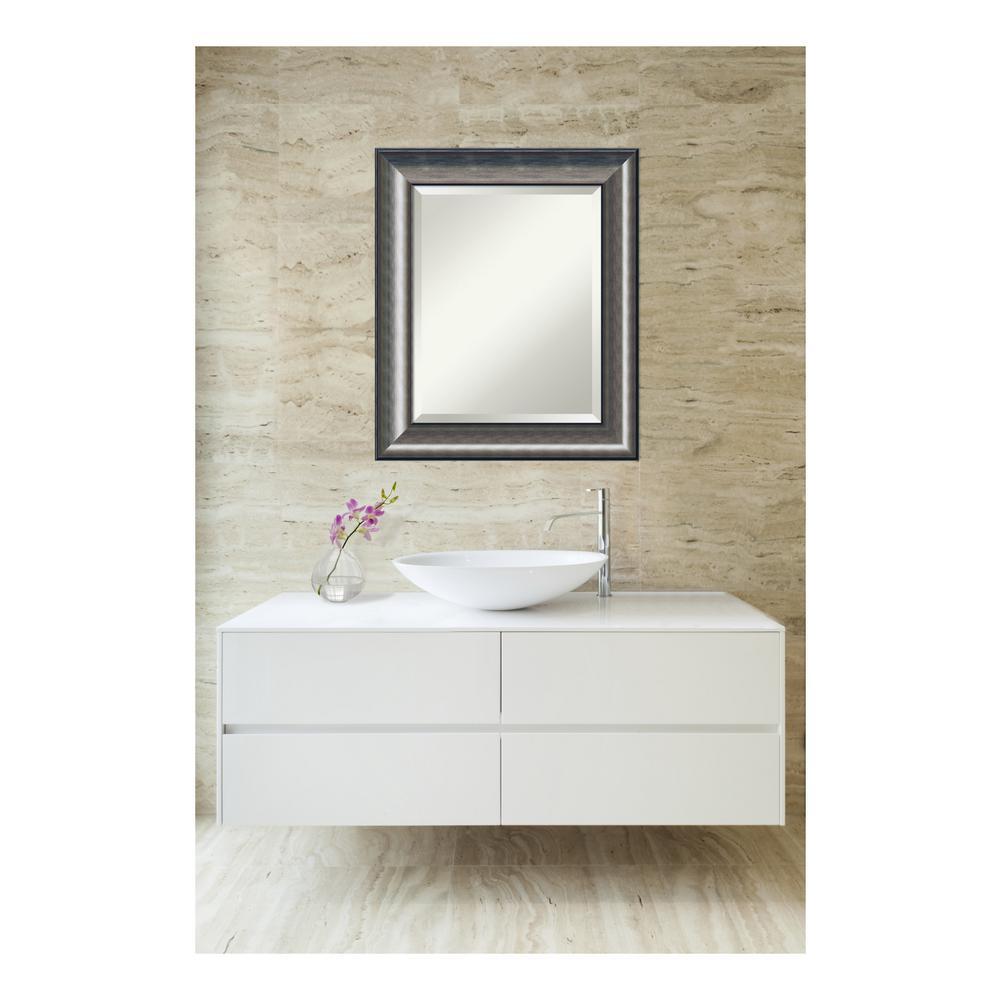 Quick Metallic Silver Scoop Wood 22 in. W x 26 in. H Single Contemporary Bathroom Vanity Mirror