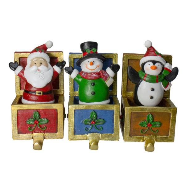 Santa Snowman and Penguin Jack in the Box Christmas Stocking Holders (Set of 3)
