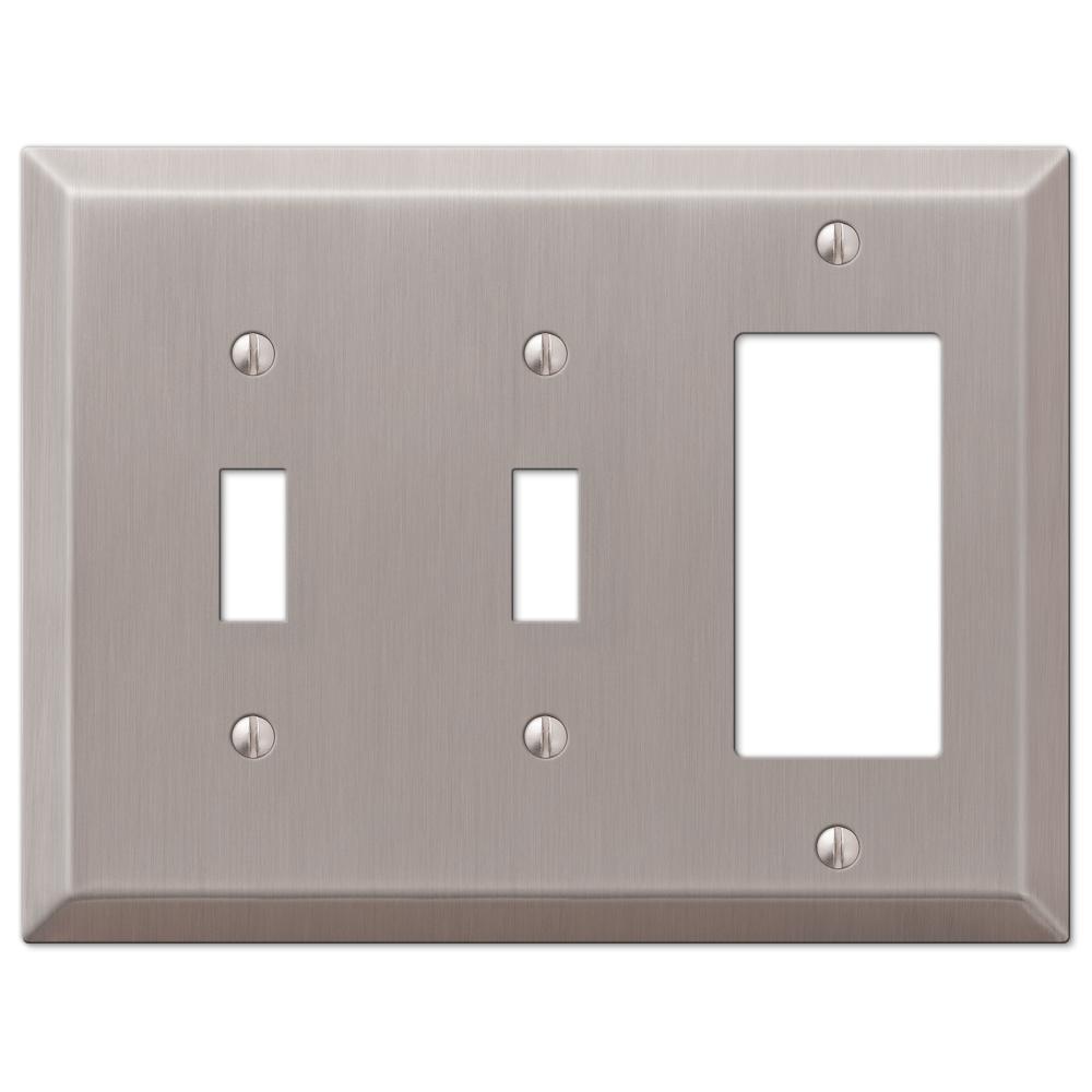 Metallic 3 Gang 2-Toggle and 1-Rocker Steel Wall Plate - Brushed Nickel