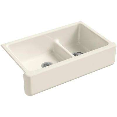 Whitehaven Smart Divide Farmhouse Apron-Front Cast Iron 36 in. Double Basin Kitchen Sink in Biscuit
