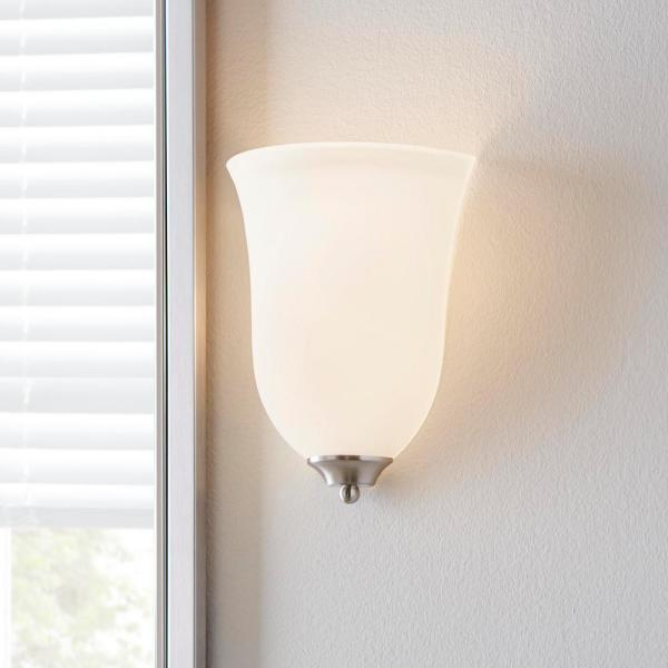 Commercial Electric 1 Light Brushed Nickel Wall Sconce Jjx8451a The Home Depot