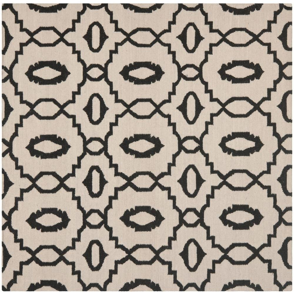 Dhurries Ivory/Black 6 ft. x 6 ft. Square Area Rug