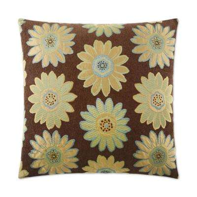 Daisy May Green Feather Down 24 in. x 24 in. Standard Decorative Throw Pillow