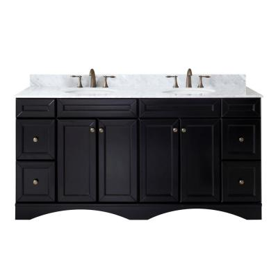 Virtu USA Talisa 72 in. W Double Bath Vanity in Espresso with Marble Vanity Top and Round Basin with Faucet
