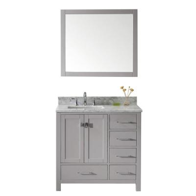 Caroline Avenue 36 in. W Bath Vanity in Cashmere Gray with Marble Vanity Top in White with Square Basin and Mirror