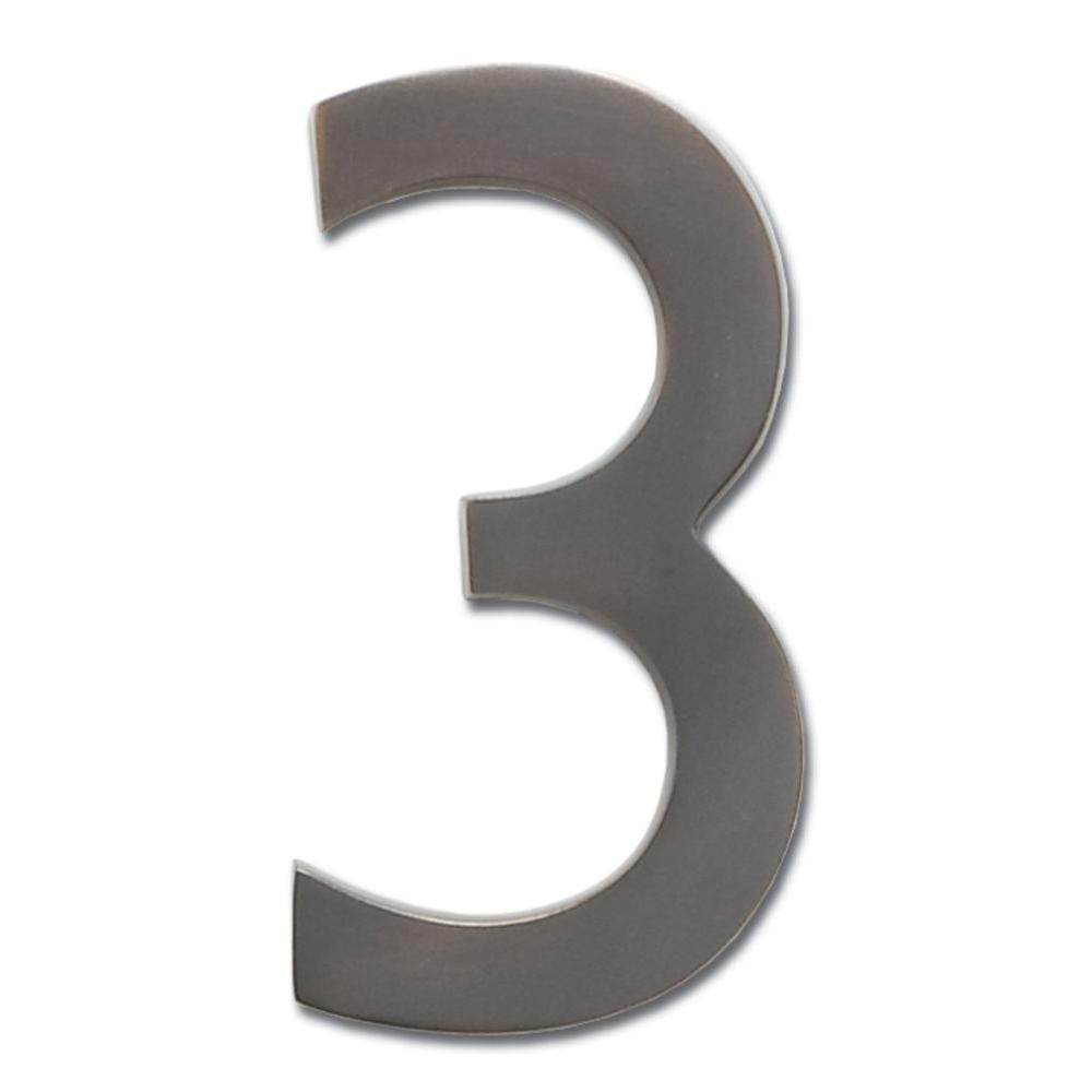 4 in. Dark Aged Copper Floating House Number 3
