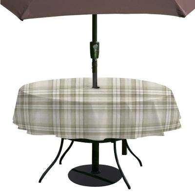 Reeve Plaid 70 in. Round Grey Single Vinyl Tablecloth with Umbrella Hole