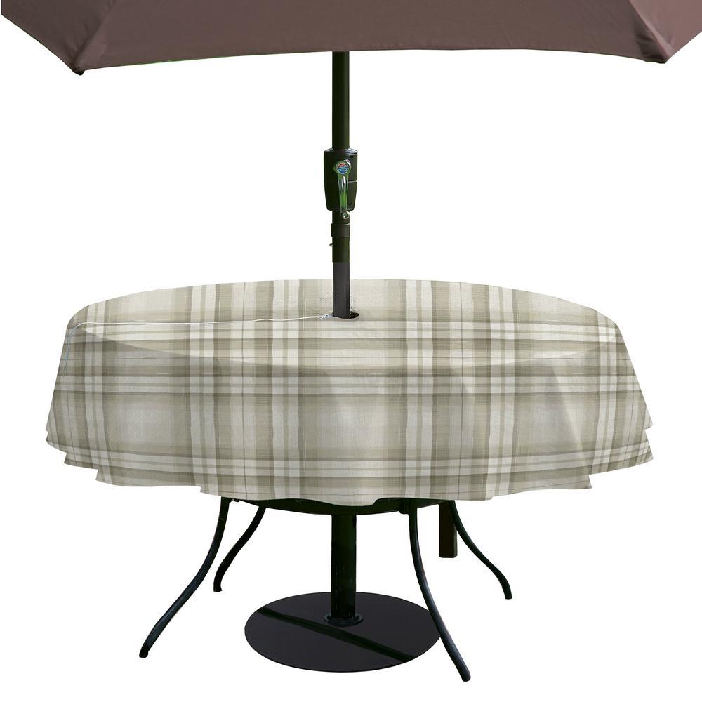 Reeve Plaid 60 inch W x 84 inch L Grey Single Vinyl Tablecloth with Umbrella Hole by