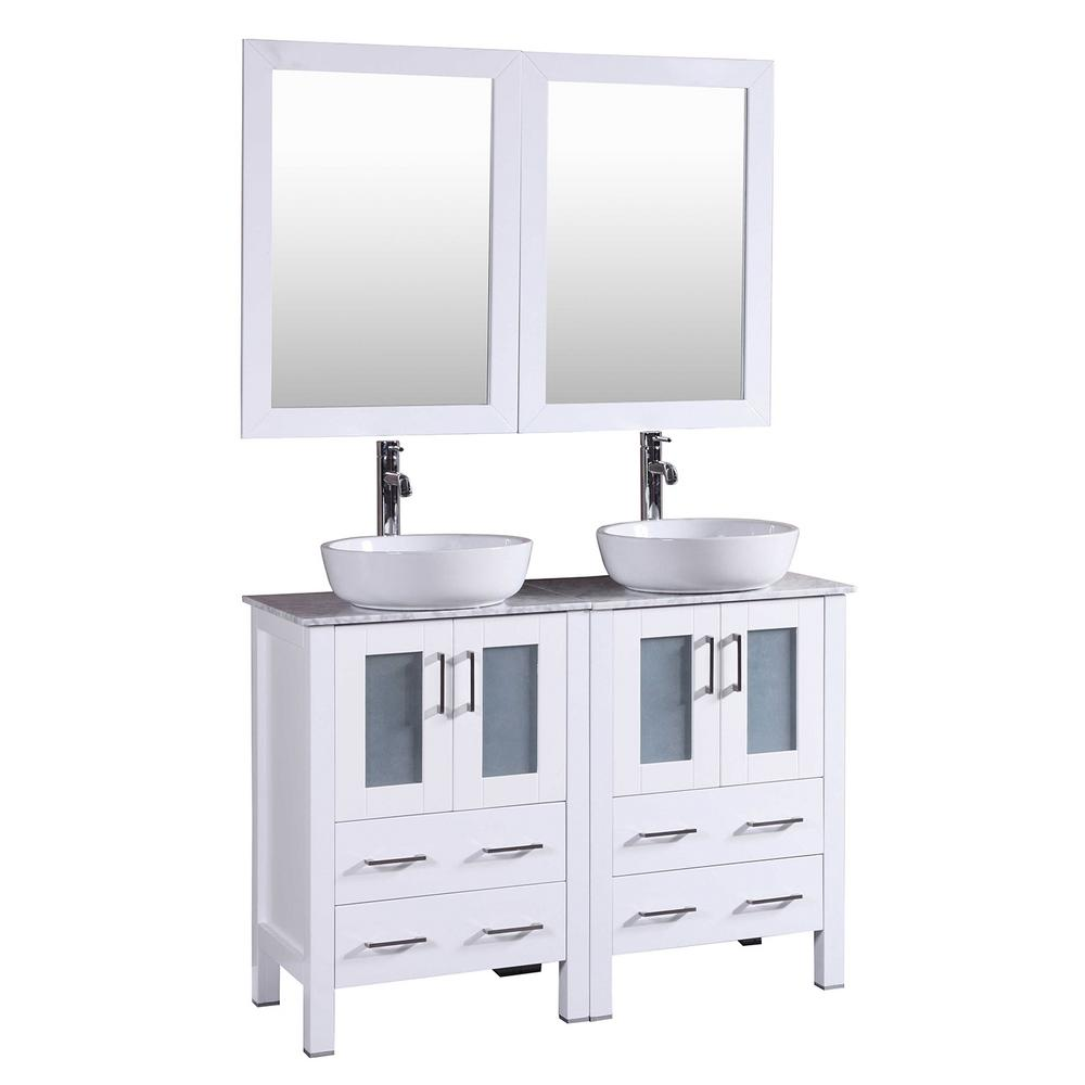 48 in. W Double Bath Vanity in White with Carrara Marble