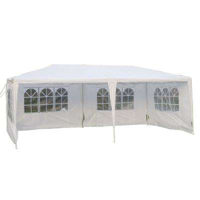 0.8 ft. x 3.7 ft. White Waterproof Foldable Tent 4-Sides Storage Shed