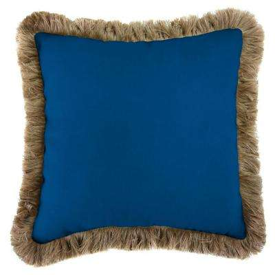 Sunbrella Canvas Navy Square Outdoor Throw Pillow with Heather Beige Fringe