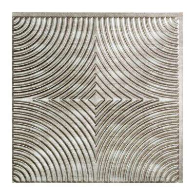 Echo - 2 ft. x 2 ft. Glue-up Ceiling Tile in Crosshatch Silver