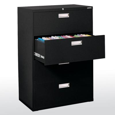 600 Series 53.25 in. H x 42 in. W x 19 in. D 4-Drawer Lateral File Cabinet in Black