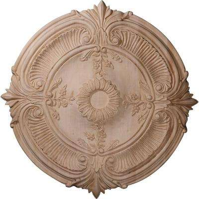 24 in. Unfinished Cherry Carved Acanthus Leaf Ceiling Medallion