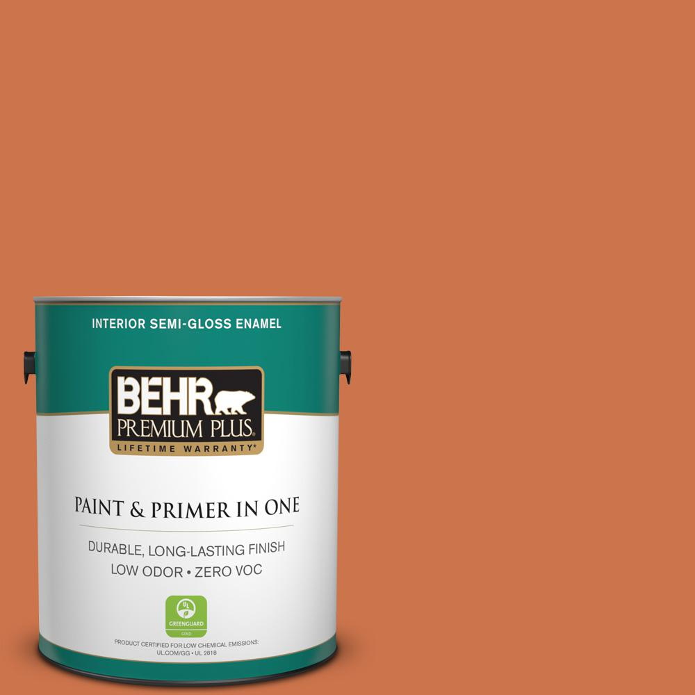 1-gal. #PMD-103 Sweet Carrot Zero VOC Semi-Gloss Enamel Interior Paint