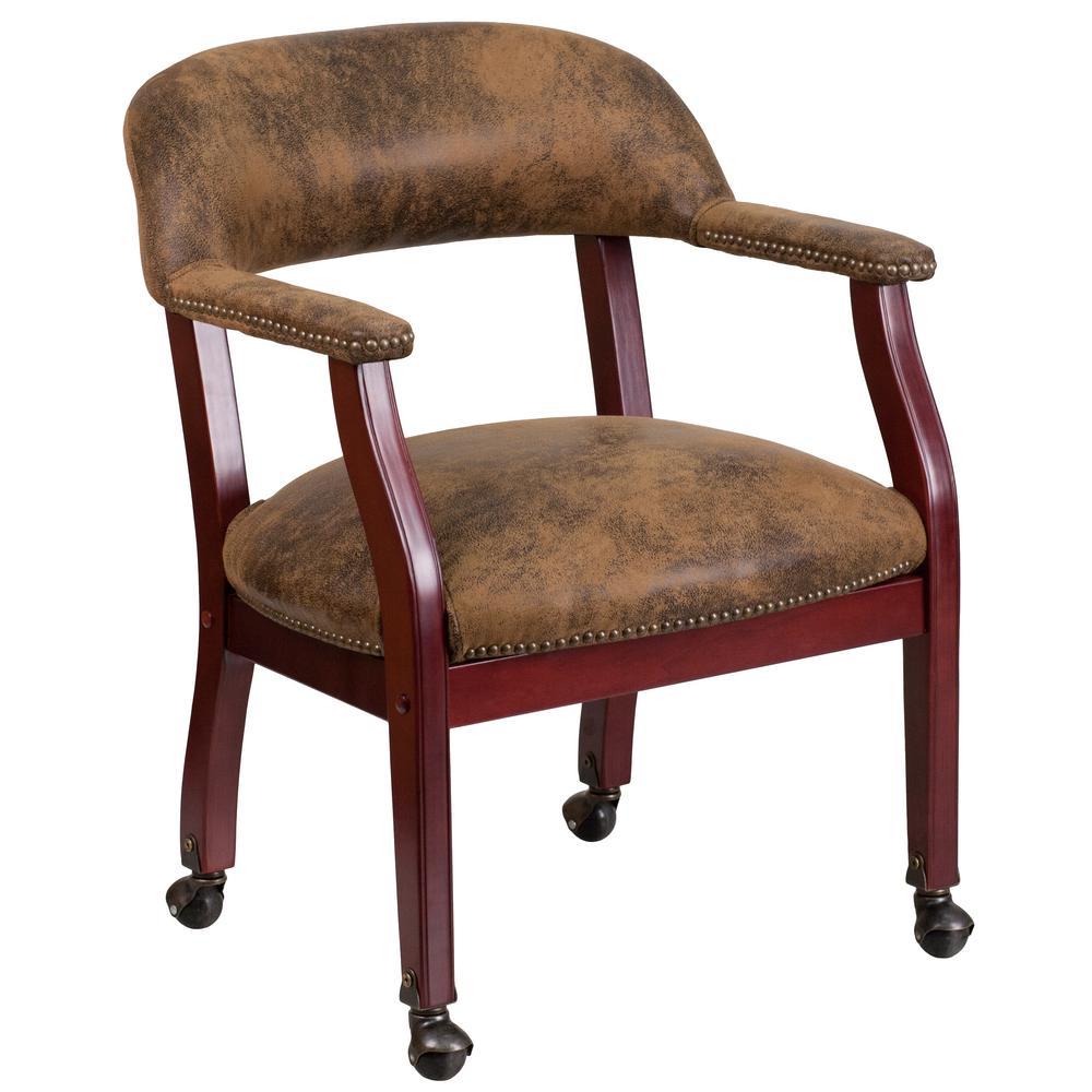 Bomber Jacket Brown Microfiber Office/Desk Chair