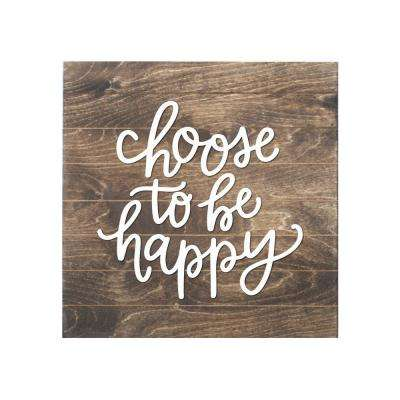 Choose to be Happy Wood Slat Board, BROWN, WHITE LETTERS, Memo Board
