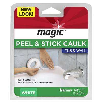 7/8 in. x 11 ft. Tub and Wall, Peel and Stick Caulk Strip in White