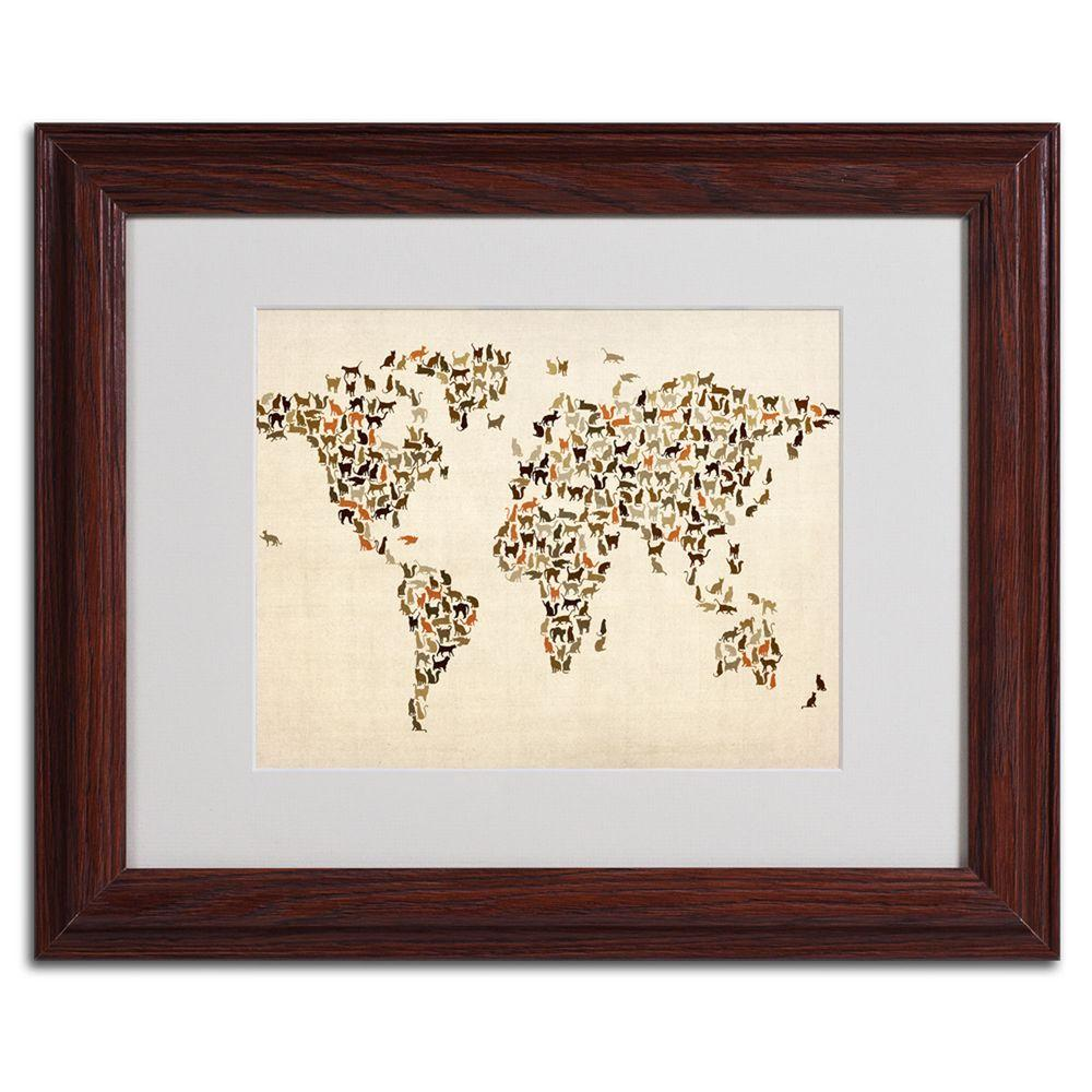 null 11 in. x 14 in. World Map - Cats Framed Matted Art