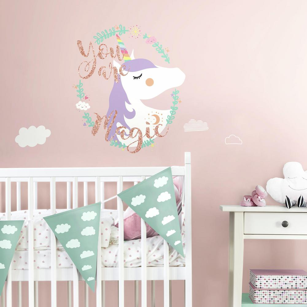 RoomMates In X In Unicorn Magic Piece Peel And Stick - Nursery wall decals home depot