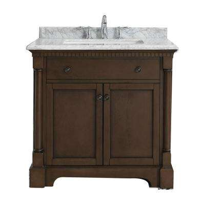 Claudia 36 in. W x 22 in. D Vanity in Antique Coffee with Marble Vanity Top in Carrara with White Basin