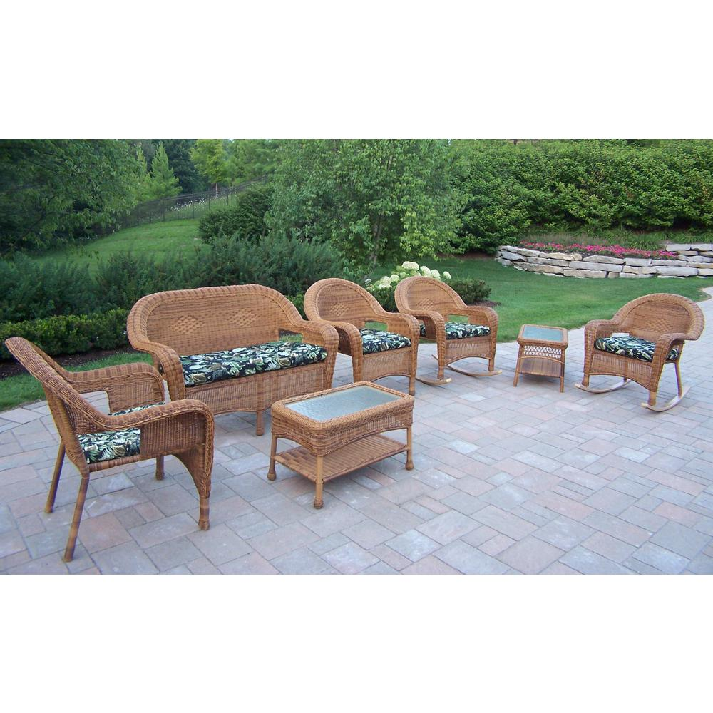 Natural 7-Piece Wicker Patio Seating Set with Black Floral Cushions